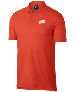 Nike Polo Mens Authentic Orange Sportswear Cotton Short Sleeve Performance Shirt