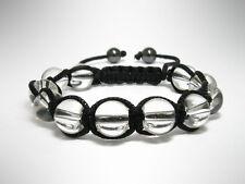 Womens Crystal Quartz Gemstone Beads Shamballa Macrame Beaded Jewelry Bracelet