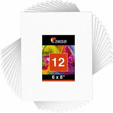 """Zenacolor Set of 12 6""""x8"""" Canvas Boards for Art Painting Drawing, White (New)"""