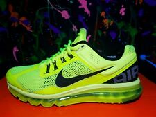 Nike AIR MAX  2013 - Size 10 - BLACK + VOLT ( Neon Yellow ) - Mens Running Shoes