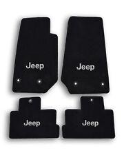 1984-2001 Jeep Cherokee Black Velourtex Carpet - 4pc Mat Set - Silver Jeep Logo