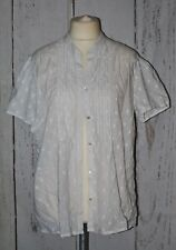 Daxon, Ladies, Cotton, Retro, White, Casual, Party, Blouse, Shirt, size 22 (50)