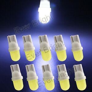 10Pcs 12V White 8000K T10 COB LED 4D 1SMD W5W 192 168 Led Interior Light Bulbs