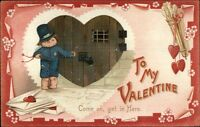 Valentine - Little Boy Police Officer TUCK Comic Cupids c1910 Postcard