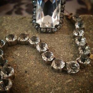 "Vintage ""Dirty Diamond"" Crystal Tennis Style Bracelet"