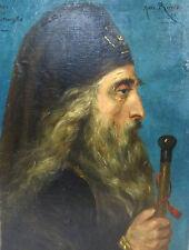 Rare Tableau Portrait orthodoxe Évêque Grèce ? tableau 19 Siècle Signé