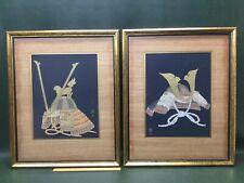 Two Vintage Japanese Armor Samurai Bushi Cap Hat Prints ~ Framed & Matted