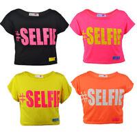 Kids Girls SELFIE Short Sleeves Crop Top Shirt .Age 7-13 Years