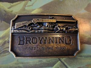 ♈ BROWNING Finest in the field Belt Buckle Antique Bronze color Hunting Fishing