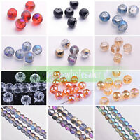 10/30Pcs 12mm Drum Round Crystal Glass Faceted Loose Spacer Beads Making Craft