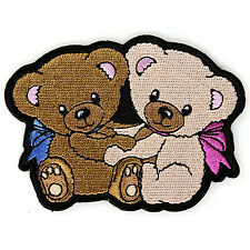 Embroidered Cute Cuddling Teddy Bears Iron on Sew on Kids Patch