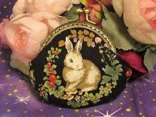 Handmade Rabbit Prints Coin Purse Coins Bag Small Pouch 8.5cm Kiss lock