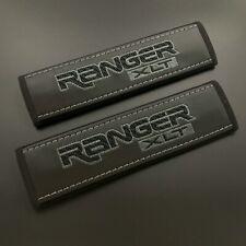 Ford Ranger XLT black seat belt shoulder pads covers Dark grey embroidery 2PCS