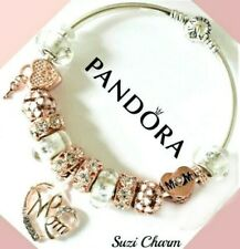 2a59199e2 Authentic Pandora Charm Bracelet With Rose Gold MOM Flower European Charms .New