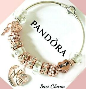 Authentic Pandora Bracelet Rose Gold MOM Heart Flower with European Charms.New