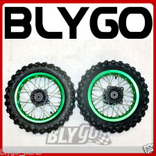 "GREEN 10"" Inch Front + Rear Wheel Rim + Knobby Tyre Tire PIT PRO Trail Dirt Bike"
