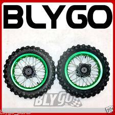 "GREEN 10"" Inch Front + Rear Wheel Rim + Knobby Tyre Tire PIT PRO Trail Dirt Bike"