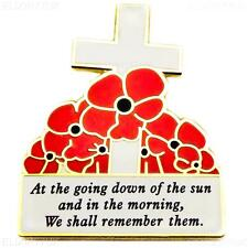 New Red Remembrance Poppy Pin Brooch Cross Badge At The Going Down Gift UK STOCK