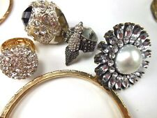 Lot of Assorted Costume Jewelry Bracelet Chunky Rhinestone Rings Necklace Chain