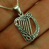 Celtic Knot Harp Silver Pendant, + Box Chain, Plain Solid Sterling Silver, pn487