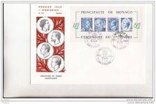 Bloc Centenaire du 1er Timbre Monégasque 1985 sur lettre