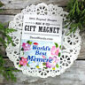 WORLDS BEST MEMERE * Fridge Gift MAGNET Pretty floral for nice relative New USA