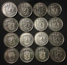 Vintage Netherlands Coin Lot - 16 GULDENS - Pure Nickel - FREE SHIPPING