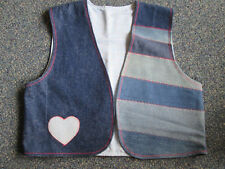 Womens Denim Vest Small Handmade Recycle Jeans