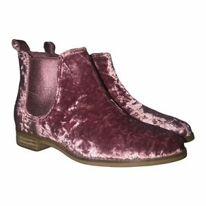 NWT Toms Ella Faded Rose Velvet Ankle Boots 6N