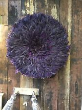 Tribal African Juju feather hat ceremonial headdress purple Cameroon Bamileke