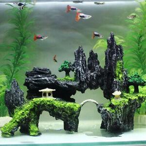 Aquarium Artificial Tree Fish Tank Plant Ornament Decoration Plastic Decor Green