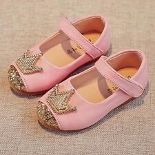 Child Toddler Kids Baby Girl Princess Crown Shoes Moccasins Leather Prewalker UK