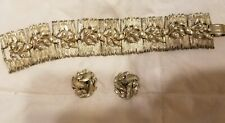 """Lisner Clip-on Earrings With Matching Bracelet Goldtone 7"""""""