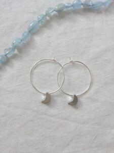 Moon earrings Handmade Silver or gold Moon hoop Earrings