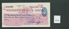wbc. - CHEQUE - CH1314- USED -1953/54- WESTMINSTER BANK, SLOUGH