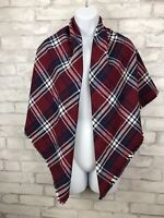 """Oversized Square Red Black White Tartan Plaid Soft-Brushed Flannel Scarf 47x46"""""""