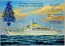 """Cartolina Augurale Marina - Motonave """"Victoria"""" Società Di Navigazione Lloyd Tri"""
