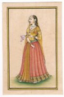 Indian Miniature Painting - Portrait Of Mughal Queen - Gouache & Gold On Paper
