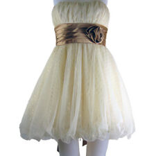 Teeze Me Glitter and Mesh Tulle Party Dress Strapless Creme  Layered  Size 3