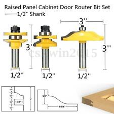 "3 Bit Raised Panel Cabinet Door Router Bit Set - 1/2"" Shank w/Case Fast Shipping"