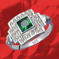 Srebra Próby 925 kryształowego sześciennego cyrkonu Pierścionek Art Deco zielony