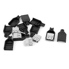 5 Pcs Type A USB 4 pin FEMALE Socket Adapter Connector  Plastic shell cover DIY