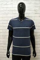 Maglia ABERCROMBIE Uomo Taglia M Maglietta Shirt Man Cotone Manica Corta a Righe