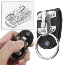 Stainless Belt Clip Ring Holder Keyring Black Leather Detachable Waist Key Chain
