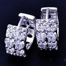 Fashion little Hoop Earrings Womens White Gold Filled Zirconia Cubic
