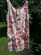 BNWT NEXT SIZE 16 LINEN RED & ECRU FLORAL COLOURED SLEEVELESS DRESS