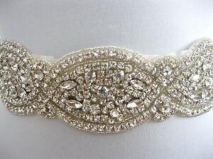 Rhinestone Applique Wedding Sash Ivory Bridal Sash Belt Dress Ophelia