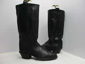 Acme Black Leather Stovepipe Tall Cowboy Boots Mens Size 12 D Style 6010 USA