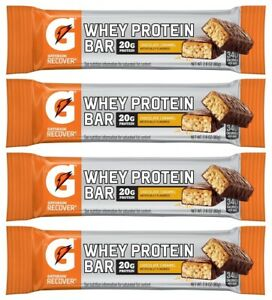 4x Gatorade Recover Whey Protein Bar Chocolate Caramel Flavor 80g