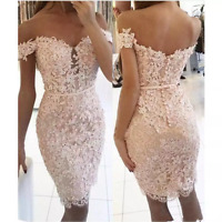 Short Mermaid Wedding Dresses Off shoulder lace Appliques Beads Bridal Ball Gown